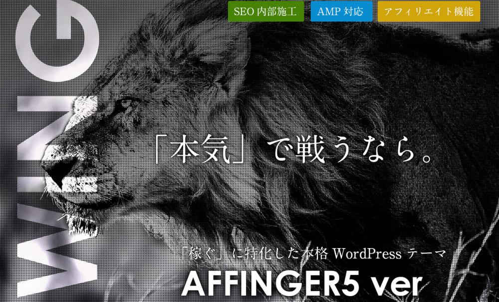①:WordPressテーマはAFFINGER5(テーマ最適化)